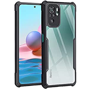TheGiftKart Back Cover Case for Mi Redmi Note 10 / Note 10S (Shockproof | Crystal Clear | Hybrid TPU & PC | Transparent Back | Black Bumper)