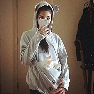 Cystyle - felpa da donna con marsupio per portare il vostro gatto con voi, fr-wy01, m