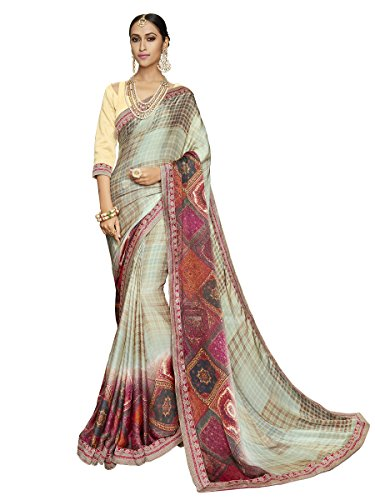 Designer Women's Multicolour Satin Weightless Printed & Lace Border Saree