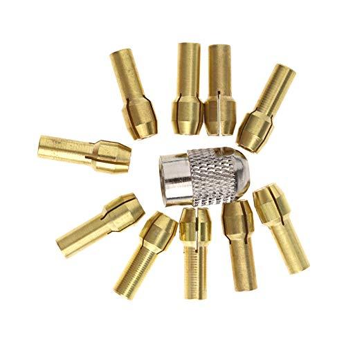 10x Messingbohrer-Spannfutter Spannzangen 0.5mm-3.2mm Schaft mit Schraubenmutter