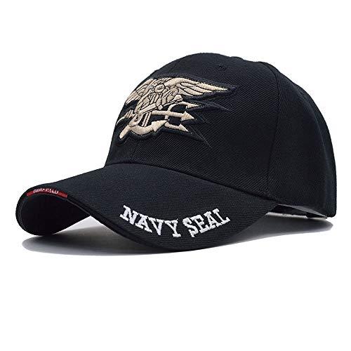 HXXBY US-Marine-Baseballmütze-Marine-Dichtungs-Kappen-Taktische Armee-Kappen-Fernlastfahrer Gorras-Hysteresenhut der Qualitäts-Männer für Erwachsenen (Color : Black) (Us-marine-kappe)