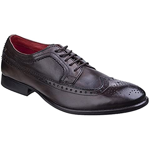 Base London Mens Bailey Burnished Lace Up Oxford Brogue Smart Shoes