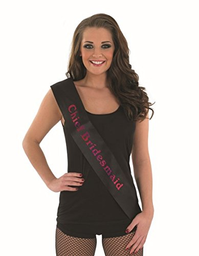 CHIEF BRIDES MAID SASH - BLACK WITH PINK Accessory Fancy Dress Costume