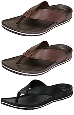jabra Men's Perfect Combo Pack of 3 Black and Brown Stylish Casual Slippers for Men's (8)