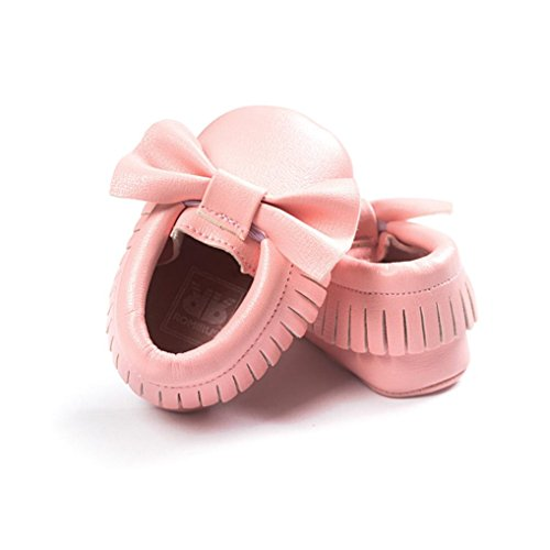 Babyschuhe Longra Baby-Krippe Mädchen Quasten Bowknot Schuhe Sneakers Casual rutschfeste Schuhe Lauflernschuhe(0 ~ 18 Monate) Pink