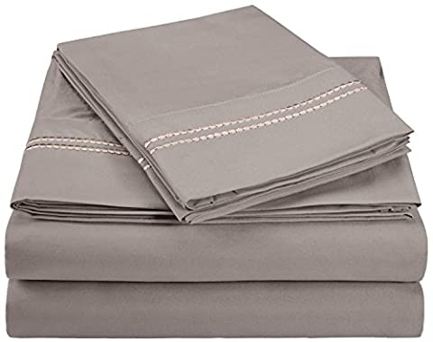 Superior 3000 Series Super Soft and Wrinkle Resistant Microfibre 4-Piece Bed Sheet Set with 2-Line Embroidery in Gift Box, Double,