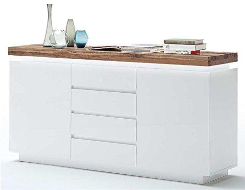 Sideboard in matt weiß, Deckplatte aus Asteiche massiv, 4 Schubkästen, 2 Türen und 2 Einlegeböden, inkl. LED-Beleuchtung, Maße: B/H/T ca. 150/81/40 cm