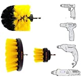 Cheston 3 Pcs Electric Drill Brush Power Scrub for Floor, Bathroom, Tile, Car, Grout, Kitchen and Other Cleaning (ONLY Brush Set) Black