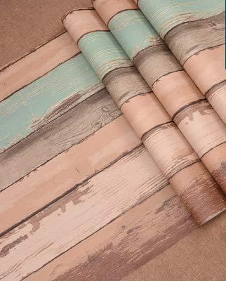 KYKDY Tapeten Supermarkt American Style Vintage Wallpaper Roll Personalisierte 3D Holz Wand Panel wasserdicht Vintage Wallpaper abgestreift für Coffee Shop, 51764, 53 CM X 10 M -