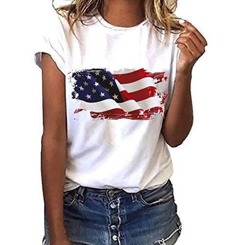 Euone 4. Juli Tops, Frauen Übergröße Nationalflagge Unabhängigkeit Tag Druck Kurzarm T-Shirt Tops, weiß, XXX-Large (Flag American Shirt Damen)