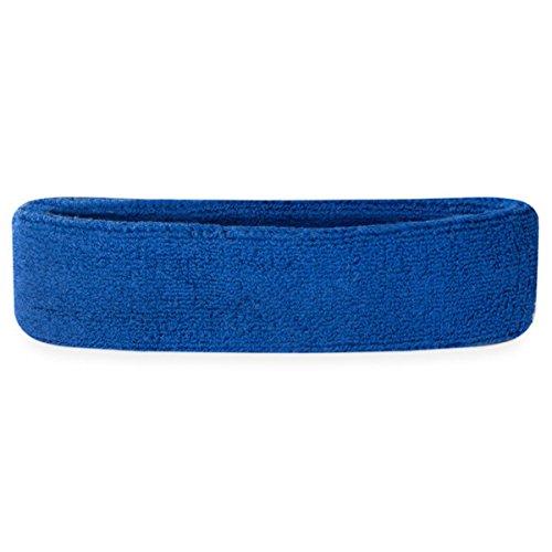 suddora Haarband Athletic Baumwolle Frottee Head Schweißband für Sport Blau blau (Frottee-stirnband Blaue)