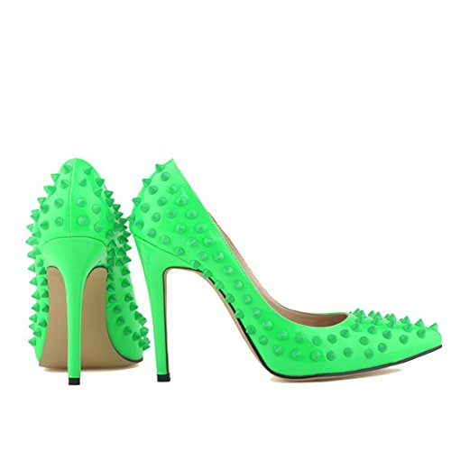 Oasap Damen Fashion Nieten Stiletto High Heels Green