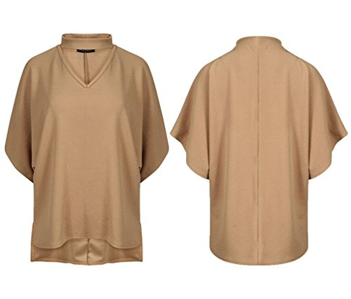 Generic - Robe - Chemise - Manches Courtes - Femme Camel