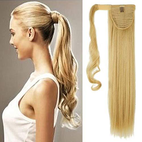 Coda di cavallo extension capelli clip in hair lisci lunghi 65cm parrucchino ponytail wrap around estensioni 135g biondo dorato mix biondo chiarissimo