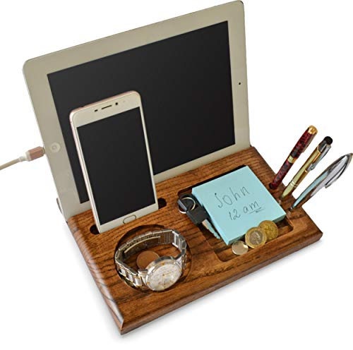 MyFancyCraft Wood Phone Docking Station Ash Tablet Stand Key Holder Wallet and Watch Organizer Men's Gift Compatible with Any Phone