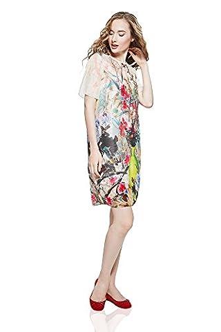 Sommerkleid Veronica knielang Freizeitkleid mit Blumendruck Damen Kleider von der Marke Nothing But Love (36, rauchig weiß)