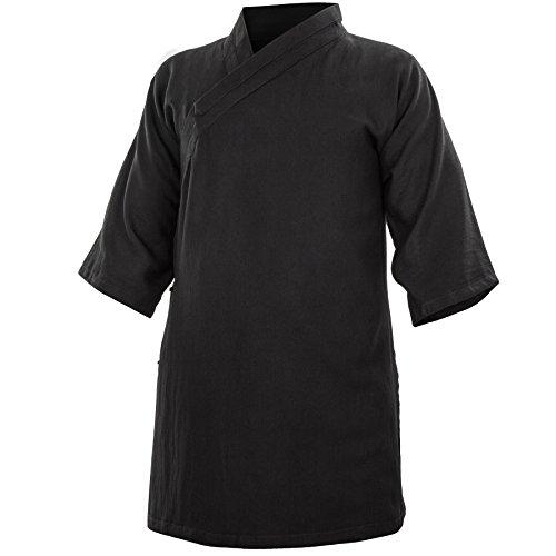 wu designs Baumwolle (Leicht) Kung Fu & Tai Chi Shirt Diagonaler Kragen Kurzarm - Taiji Anzug Dunkelblau 170 -