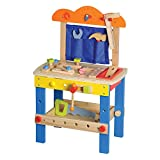 LELIN Wooden Childrens DIY Builder Carpentry Construction Work Bench Kids Pretend Play Toy Tool Set 49 pieces