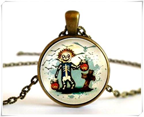 Skelett Boy Kostüm, Trick or Treat, Kürbisse, Halskette Anhänger Oder Brosche Pin (Skull Boy Kostüm)