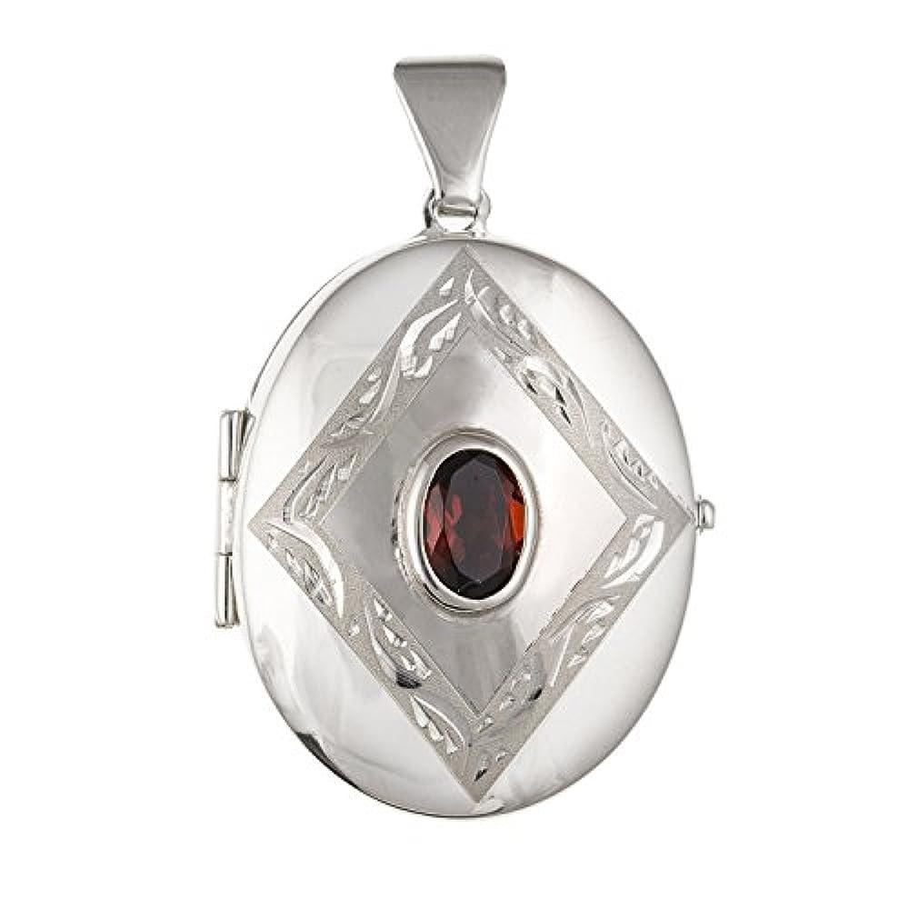 17mm breit rot Granat Set mit kunstvoller Diamant Muster, oval Medaillon–925Sterling Silber, Lieferung erfolgt in Geschenkbox oder Geschenkbeutel