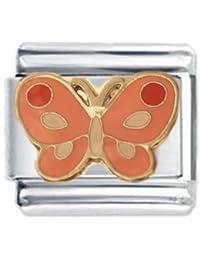 Mariposa rosa esmalte encanto italiano - nombramientos para pulsera clásica - (Exclusiva de Amazon)