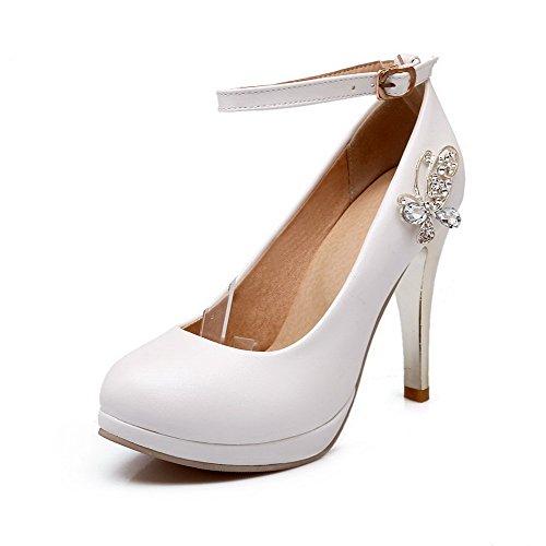 VogueZone009 Femme Pu Cuir Couleur Unie Boucle Fermeture D'Orteil Rond Stylet Chaussures Légeres Blanc