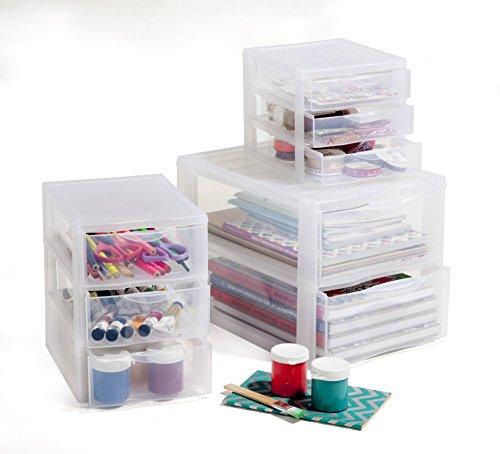 Rotho Sundis 1422000096 Schubladenbox Orgamix aus Kunststoff (PP), 3 Schübe im Format A6+, ca. 21 x 18 x 17 cm (LxBxH), transparent