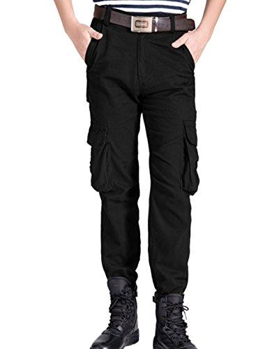 Hommes Boucle De Ceinture Fermeture Bouton Braguette Zip Multi Poche Décontracté Pantalon Cargo Noir