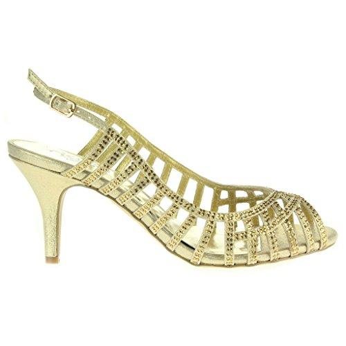 Frau Damen Diamante Trimmen Peeptoe Slingback Abend Braut Hochzeit Party Prom Hoch Absatz Sandalen Schuhe Größe Gold
