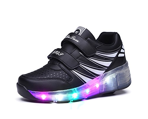 Feicuan Big Kinder LED Luminous Turnschuhe Retractable Wheel Roller Skate Schuhe Black