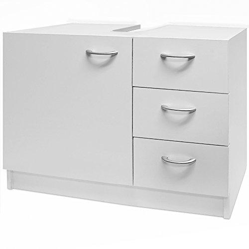Waschbeckenunterschrank Unterschrank Badzimmerschrank | 3 Schubladen | 63 cm x 54 cm x 30 cm | Farbe: weiß