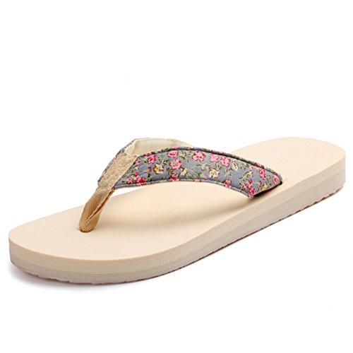 Piccole signore fondo piatto floreale e infradito/Scivolare in spiaggia-scarpe estive per il tempo libero/La versione coreana di pantofole C