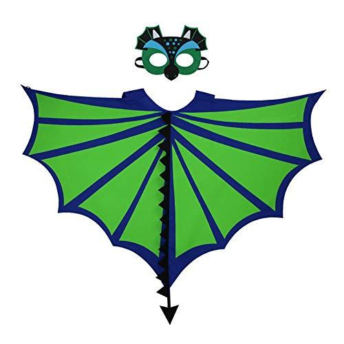 Meifyomng Kinder Tierumhang Flügel und Filzmaske Dinosaurier Kostüm Imitat Dinosaurier Umhang Filz Maske für Karneval, Halloween, Kinder Tierkostüm - Dino Pet Kostüm