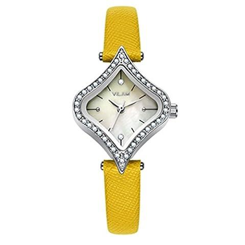 Fashion Wasserdicht Leder Heart-Shaped Strass Schale Zifferblatt Quarz Armbanduhr Für Frauen / Mädchen,Gelb
