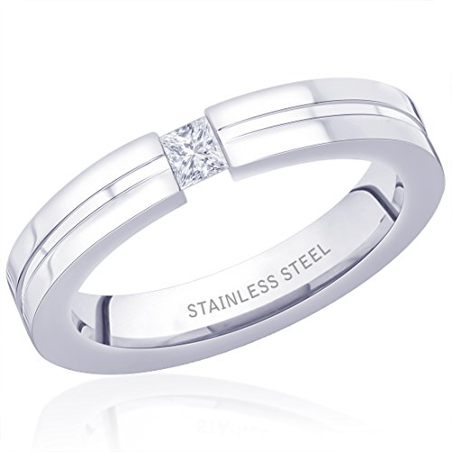 Peora 316L Stainless Steel Fine Lines Ring for Men  available at amazon for Rs.473