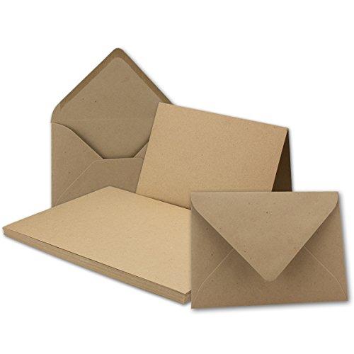 DIN B6 Faltkarten SET aus Kraft-Papier in sandbraun | 50 Sets | Doppel-Karten & Briefumschläge aus Recycling-Papier | bedruckbare Natur-Postkarten in DIN B6 Format | ideal für Weihnachten, Grußkarten und Einladungen | Serie UmWelt (Postkarte Natur)