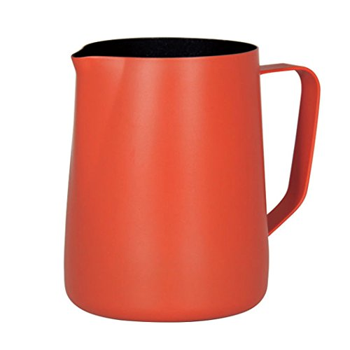 Espresso Dampfende Milch (SIPLIV 20 oz (600 ml) Edelstahl Espresso dampfende Krüge Milch Aufschäumen Krug Milchkännchen Macchiato Cappuccino Latte Kunst Machen Krug Tassen Aufschäumen Krug - Orange)
