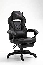 Mahmayi C592F High Back Black Video Gaming Chair with PU Leatherette, black &
