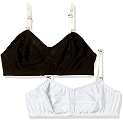 Fabme Women's Non-Wired Non Padded Bra (Po2-B00145_White and Black_36)