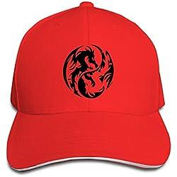FHDA Dragon Yin Yang Gorra de béisbol clásica, Ajustable, para Hombres y Mujeres, de Perfil bajo, Sombrero Natural Rojo Rosso Talla única