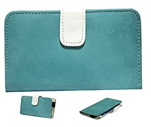 Jo Jo A8 Nillofer Leather Carry Case Cover Pouch Wallet Case For Samsung Galaxy Note II Light Blue White