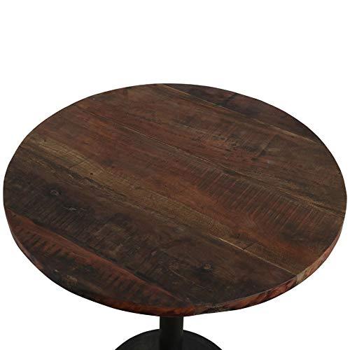 Atypik Home Table Haute Circulaire en Teck sur Son Pied en Fer Noir Mat