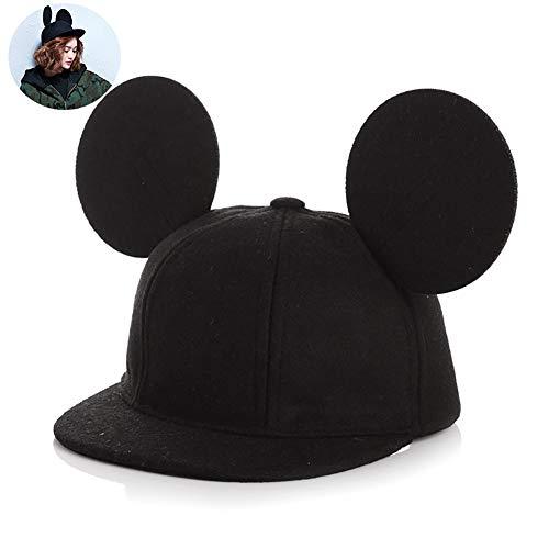 Xiton orecchio adorabile bambini mouse cappello 3d cappello di lana protezione dei capretti per i ragazzi ragazze primavera autunno inverno 1pc - nero