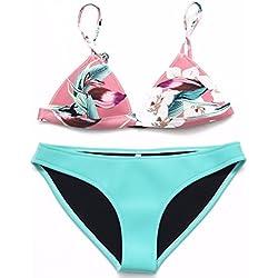 gk-european Retro impresión neopreno mujeres bañadores Bikinis, color XS, tamaño Green