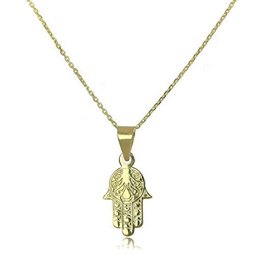 9K (375) Gold Hamsa Hand Halskette mit Anhänger an Kette - 50,8 cm (20 Inches)
