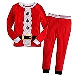 Abbigliamento Bambini Santa, Kfnire classica manica lunga santa claus top e pantalone natalizio pigiama (5-6 anni)