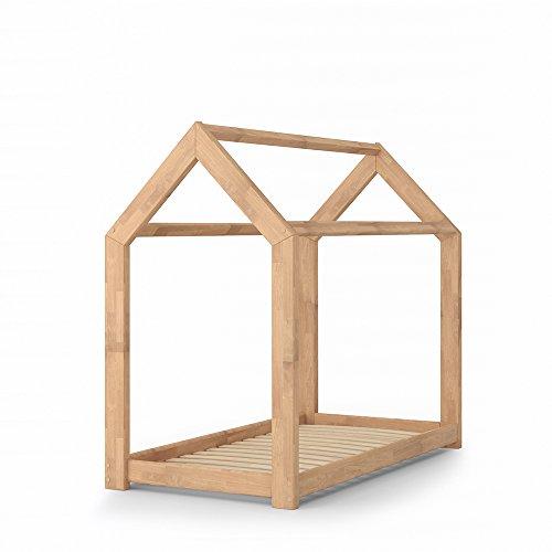 Vicco Kinderbett Jugenbett Kinderhaus Bett Kinder Holz Haus Schlafen Spielbett Hausbett - lackiertes Massivholz - kindgerechte Verarbeitung (Natur, 70 x 140 cm)