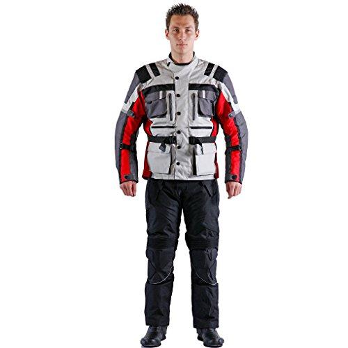 #Lemoko Textil Motorradkombi Zweiteiler schwarz rot Gr XL#