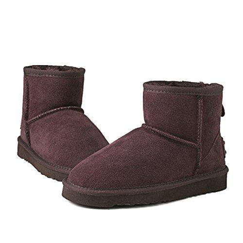 Shenduo Bottes femme hiver cuir(daim) imperméable, Boots fourrées Waterproof courtes doublure chaude D5154 Chocolat
