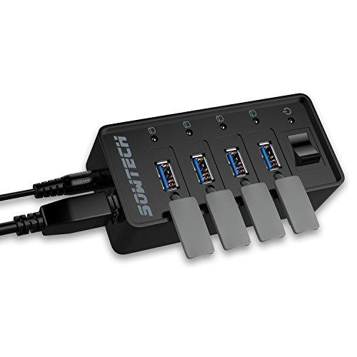 Hub USB 3.0, Sowtech Data 4-port USB Hub alimenté Chargeur 4V 3.5A de chargement rapide Transfert de données 5Gb / s avec éclairage et capuchon anti-poussièree